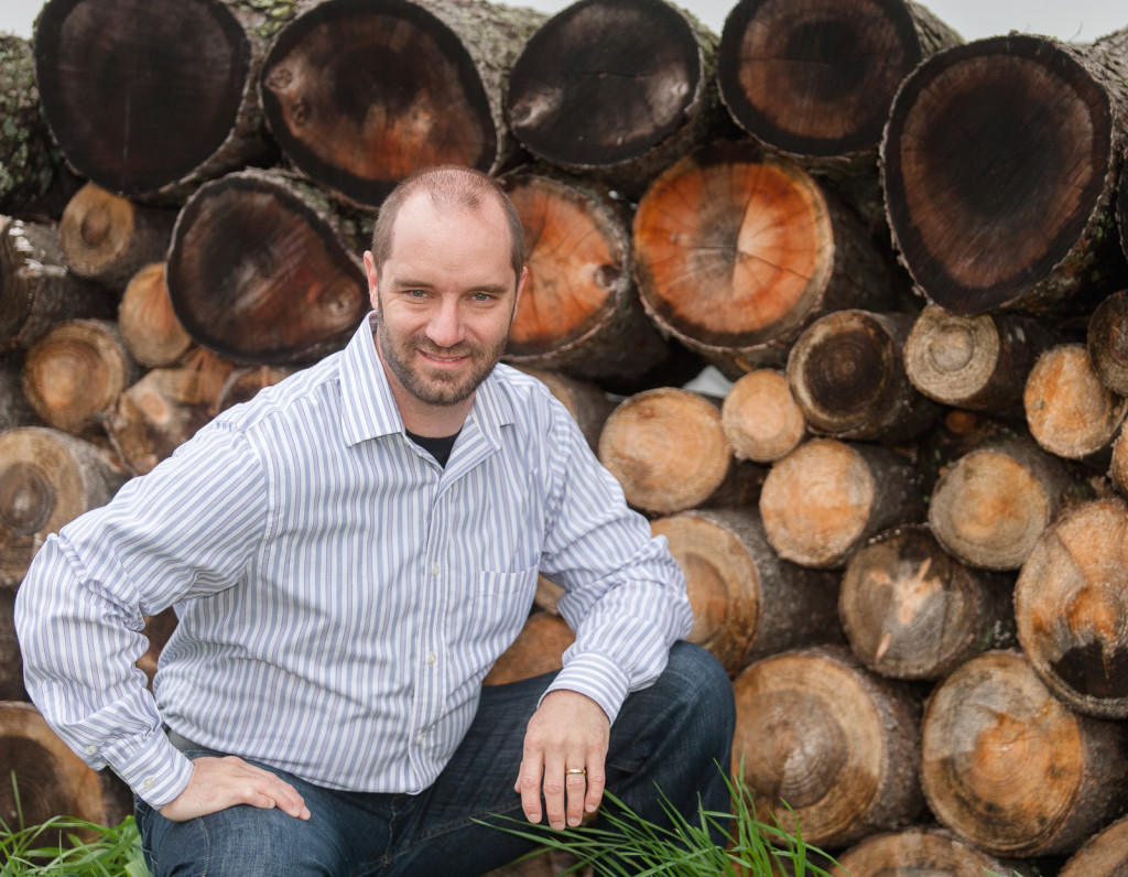mike with logs